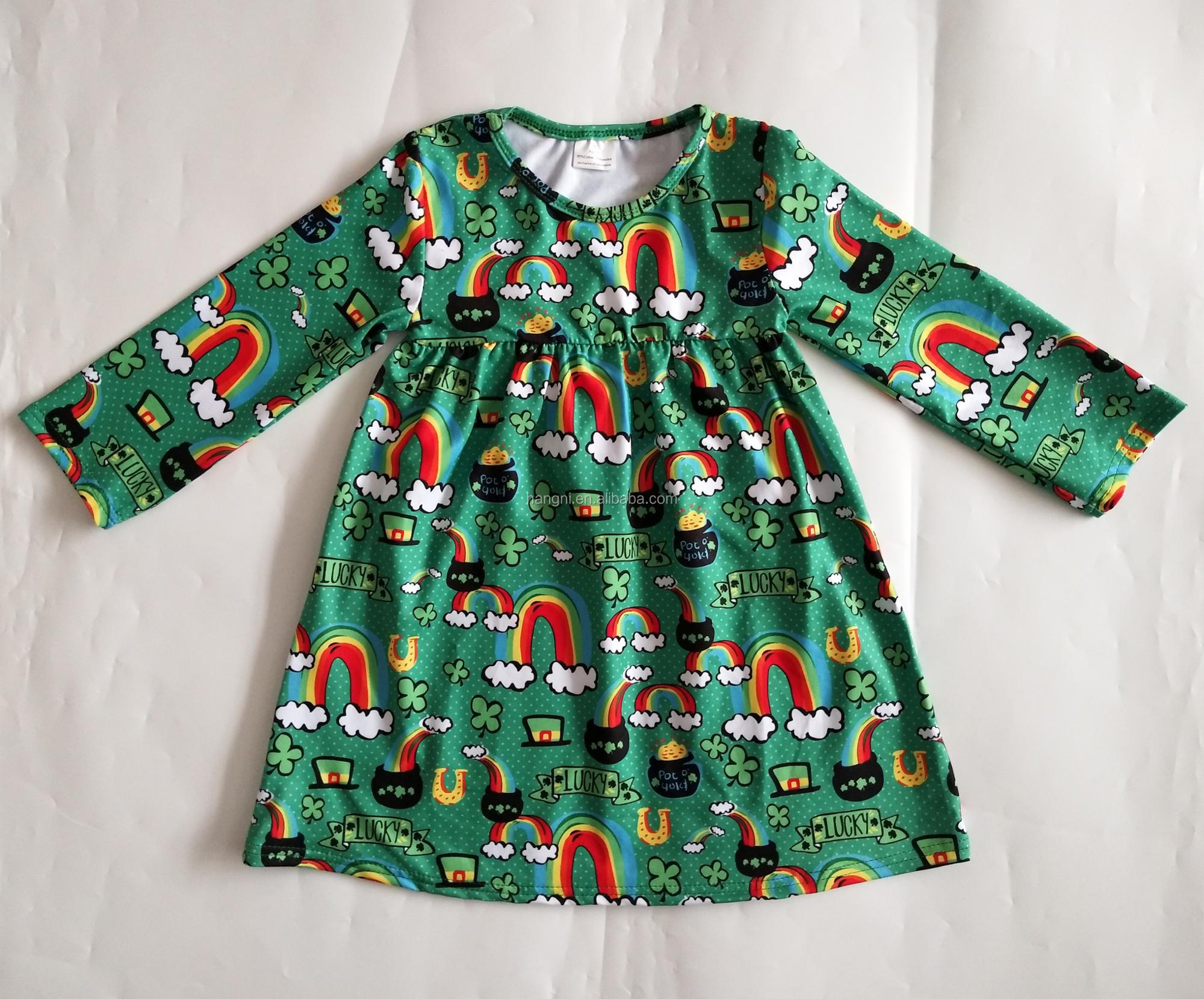 795bbf3a482f High Quality Bulk Wholesale Kids Clothing Clover Printed Baby Girl ...