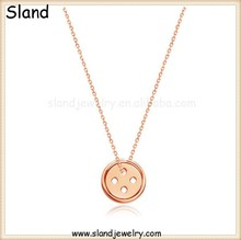 2016 Italia Style design unico in oro rosa placcato 925 sterling silver mens collana con rotonda charms button made in China