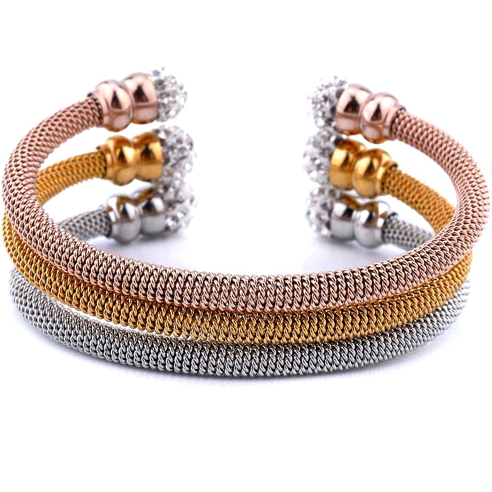 Fashion New Design Stainless Steel Cuff Bangle Women Twisted Bracelet