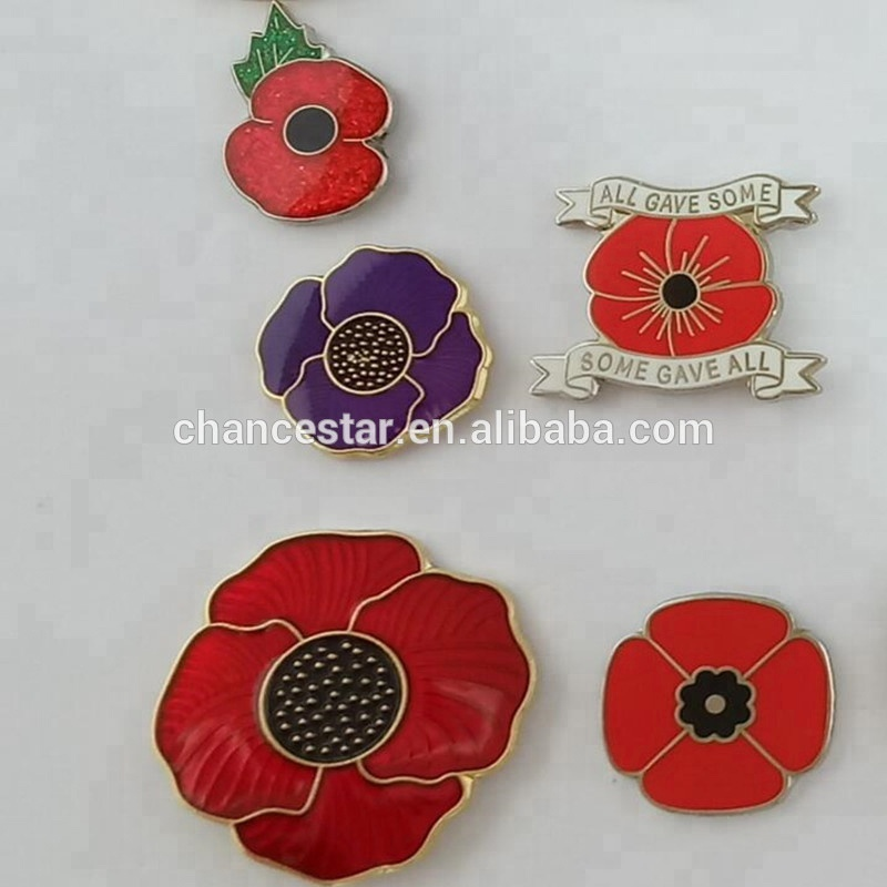 Custom hard enamel brass poppy lapel pin badges dropshipping, View custom  metal pin badges, CSD Product Details from Cangnan Chance Star Paper &