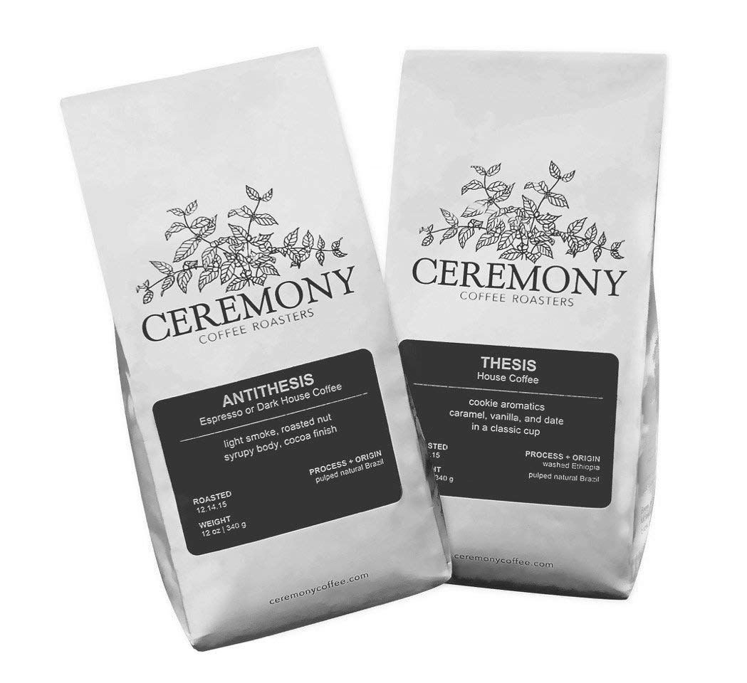 Ceremony Coffee Roasters - House Coffees Variety Pack - Specialty Whole Bean or Ground Coffee- 2x12oz Bags (Whole Bean)