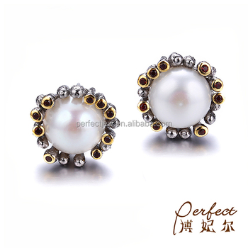 Handmade Button Pearl 925 Sterling Silver Jewelry Earrings with Garnet