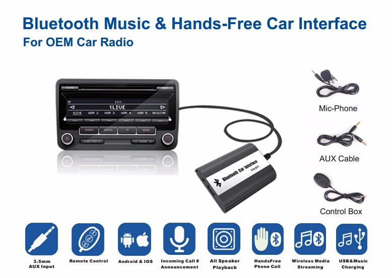 Apps2car Car MP3 adapter with USB SD Aux Bluetooth for VW Audi Skoda Seat