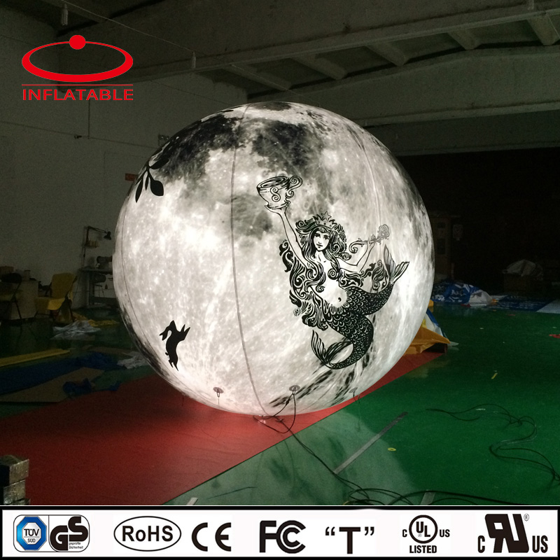 Digital printing inflatable illuminated planet decoration balloon, inflatable LED lighting globe balloon