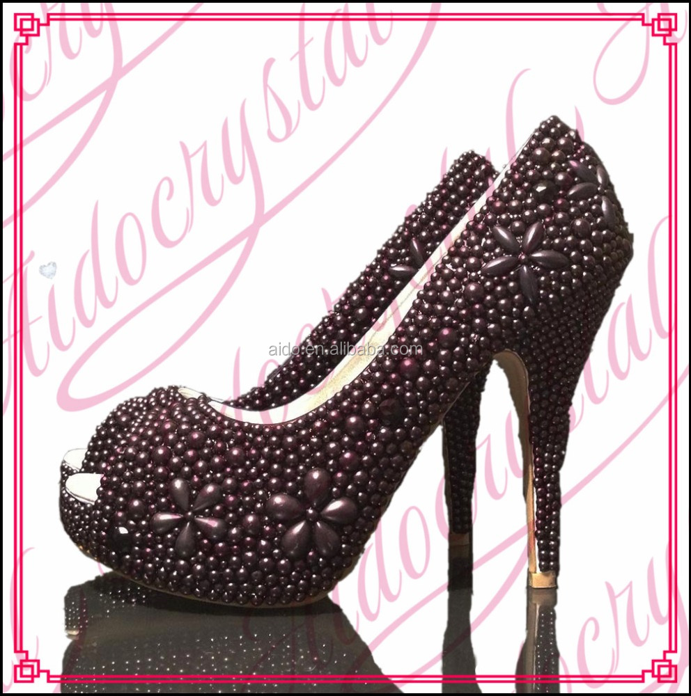 Aidocrystal alibaba hot selling handmade black pearls ladies high heels peep toe pumps shoes