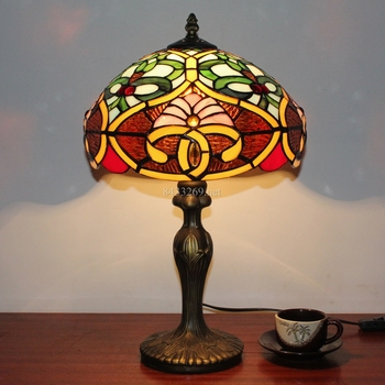 "12"" modern style tiffany stained glass table lamp for home decoration"