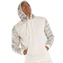 Faddish Men'S White Fleece Spacedye Printed Long Sleeve Pullover Hoodie Shirts