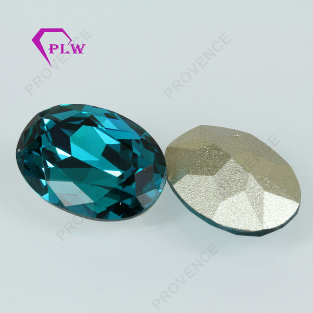 Blue Crystal Oval Stone Glass Gems With Gemstone Bead