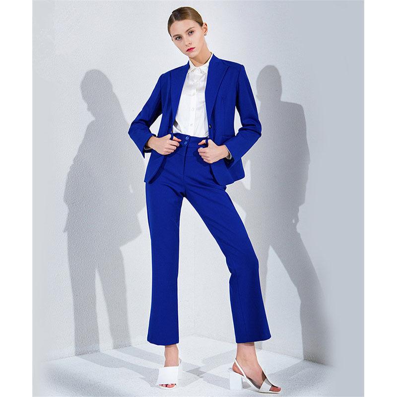New Ladies Royal Blue Trouser Suit Business Clothes for Women Business Wear Suit