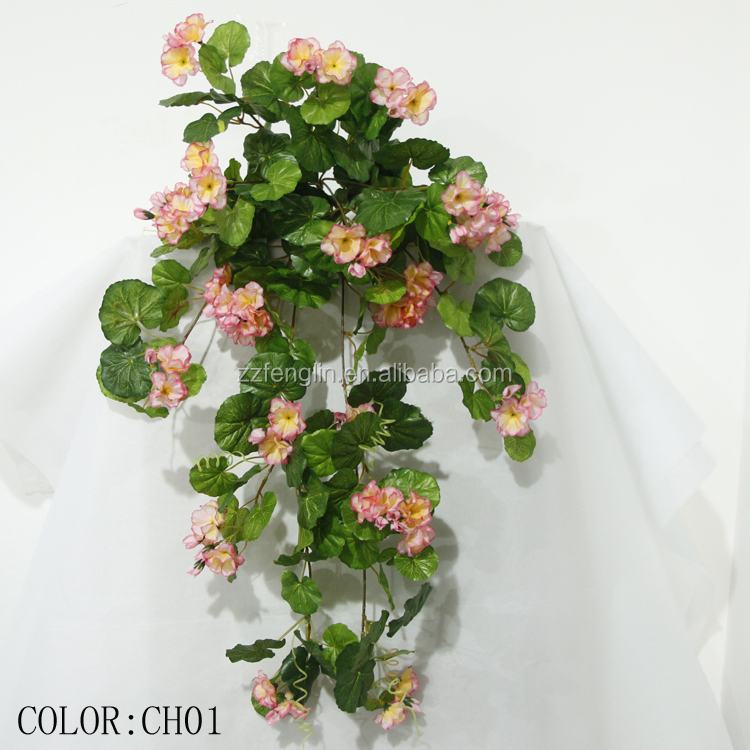 Wall Hanging Artificial Silk Geranium Flowers Factory Cheap Wholesale Artificial Silk Flower For Home Decor