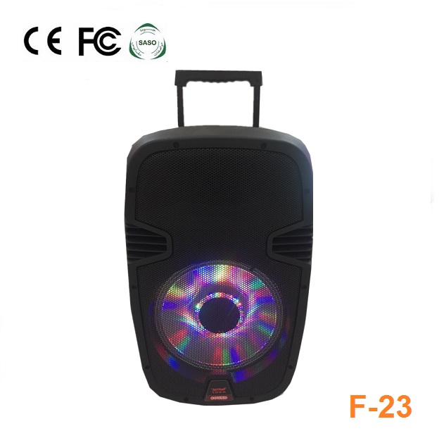 Temeisheng 15 inch bluetooth function rechargeable battery speaker with USB,SD,FM, subwoofer,built-in amplifier F-23