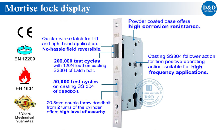 CE Stainless Steel Mortise Lock from D&D Hardware