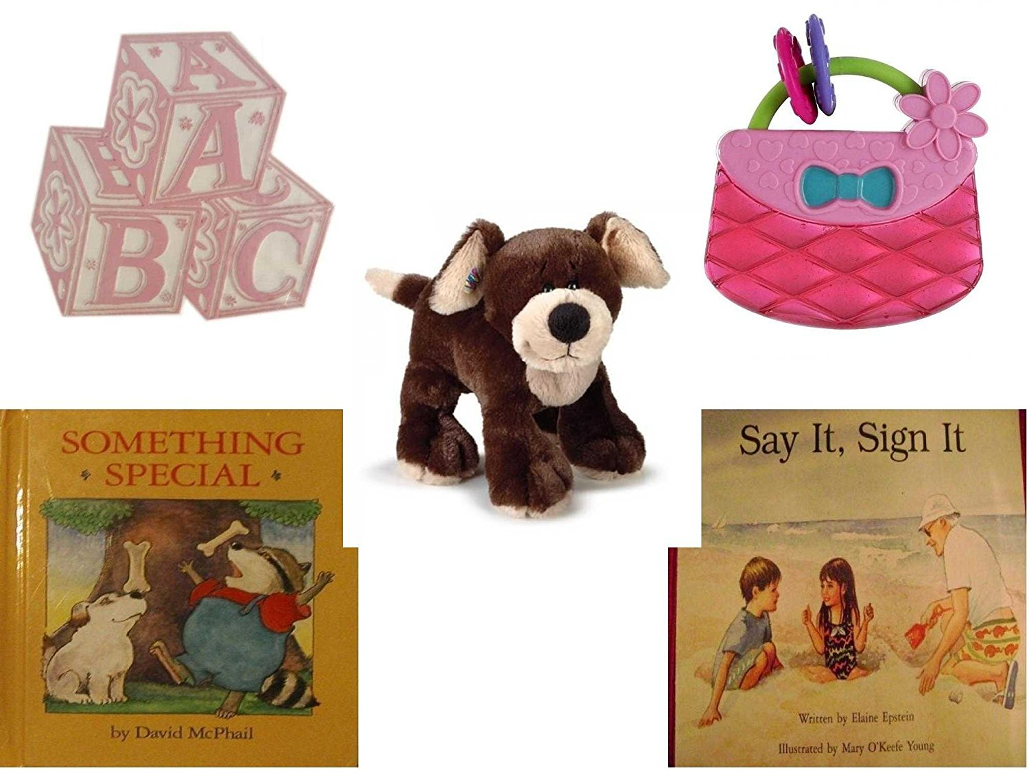 Children's Gift Bundle - Ages 0-2 [5 Piece] - ABC Baby Blocks Cake Topper Pink Girl - Bright Starts Pretty in Pink Carry Teethe Purse - Webkinz HM348 Mocha Pup Plush Animal - Something Special - Say
