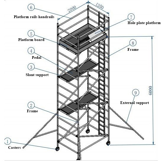 1.35m x 2m size Aluminum mobile stair scaffolding factory price