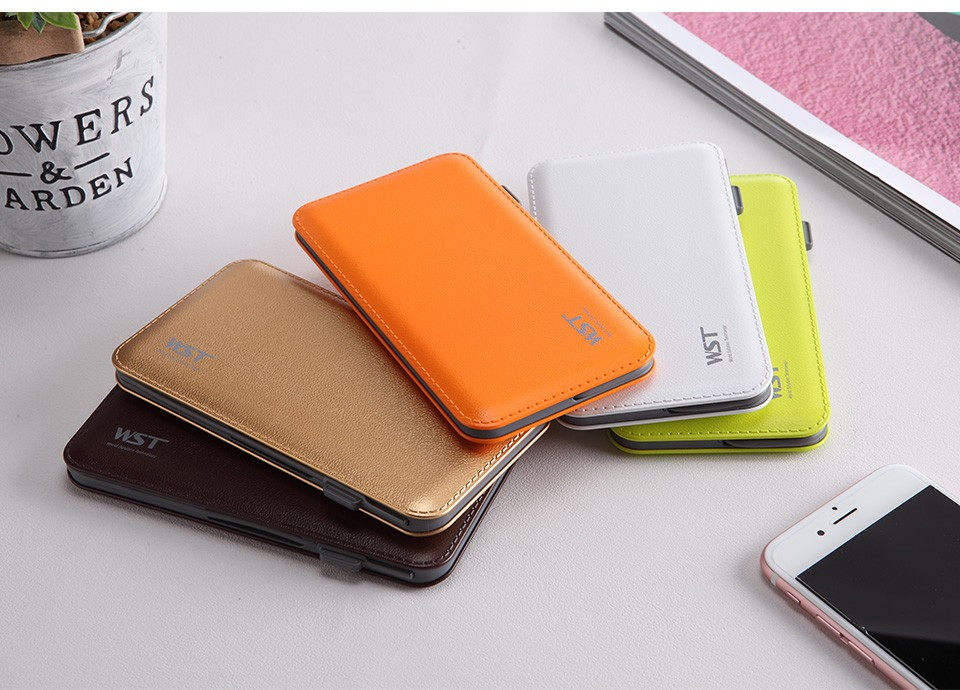 RoHS CE approved custom slim leather powerbank 8000 mah power banks for smartphones