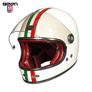 Factory price beon fiber vintage motorcycle helmet retro fullface four seasons stylish cool racing safety helm for men women