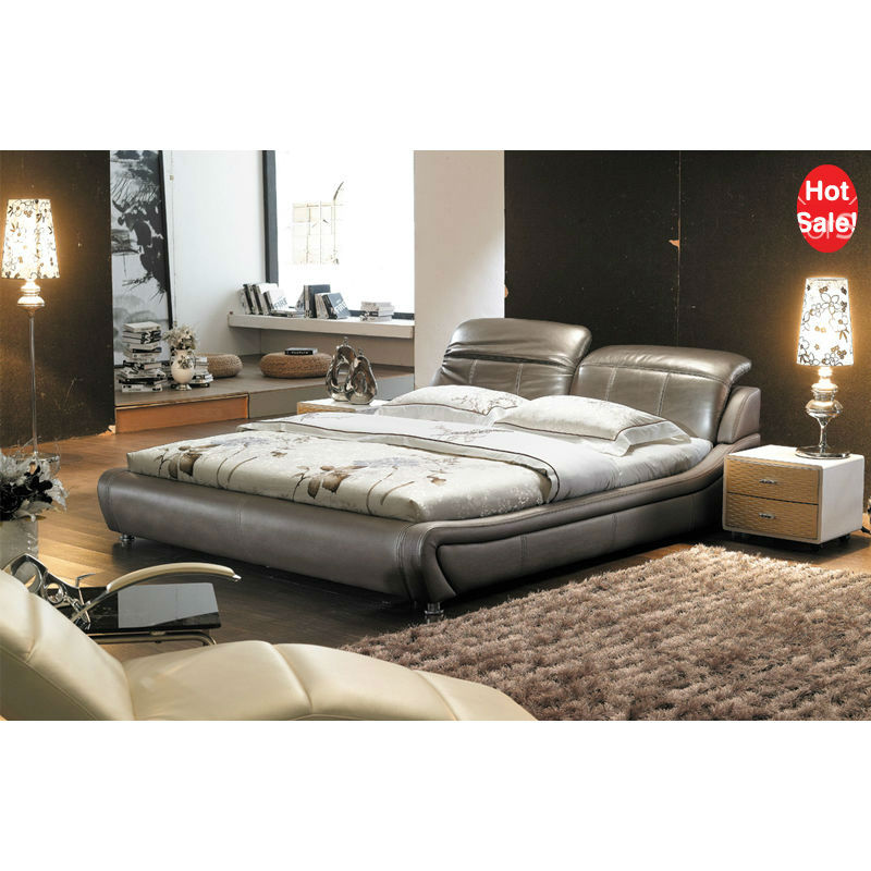 Latest Cozy Luxury Grey Soft Leather Beds In China