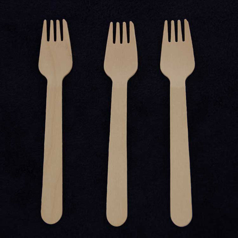 100pcs/Pack Compostable Wooden Cutlery Custom Bicycle Fork Eco-Friendly Disposable Degradable Buffet Utensils For Wedding Party