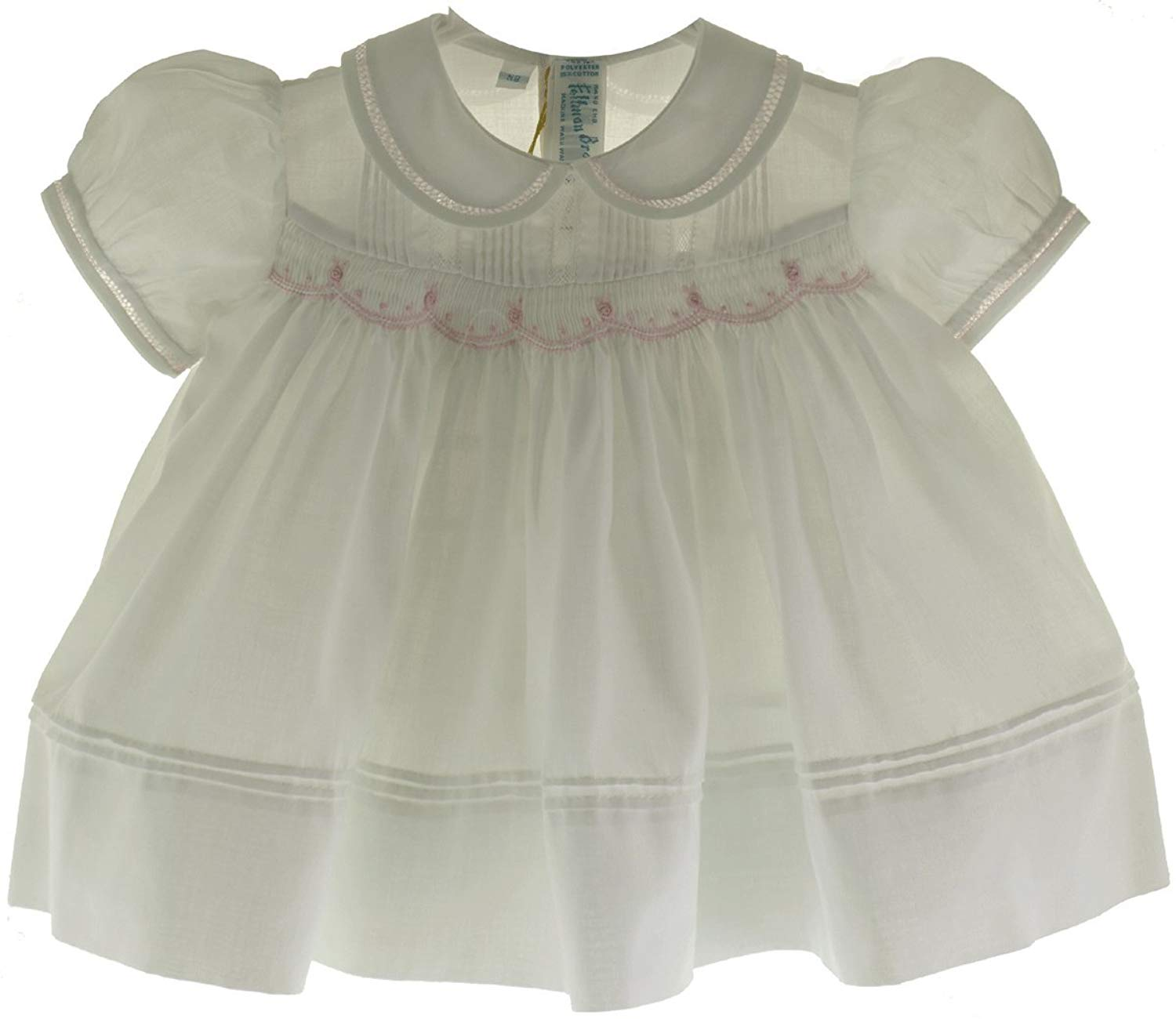 c326fe410873 Get Quotations · Feltman Brothers Newborn Girls White Smocked Dress with  Pink Flowers