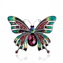 China supplier fashion design rhinestones crystal yellow insect butterfly wing brooch butterfly brooch