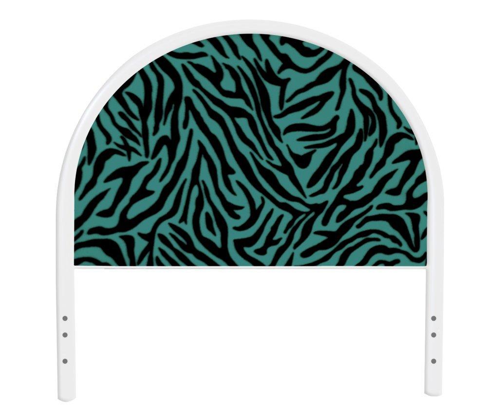 The Furniture Cove New Twin Size Children's Youth White Metal Headboard with Custom Blue Zebra Print Upholstered Headboard