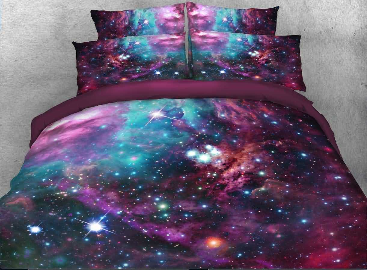 Alicemall Colorful Galaxy Bedding Purplish Red Outer Space Bedroom Sheets Set, Soft and Breathable 4 Pieces Duvet Cover Set, No Comforter, Twin Size Kids' Bed Cover Set (Twin, Multi Color Galaxy)