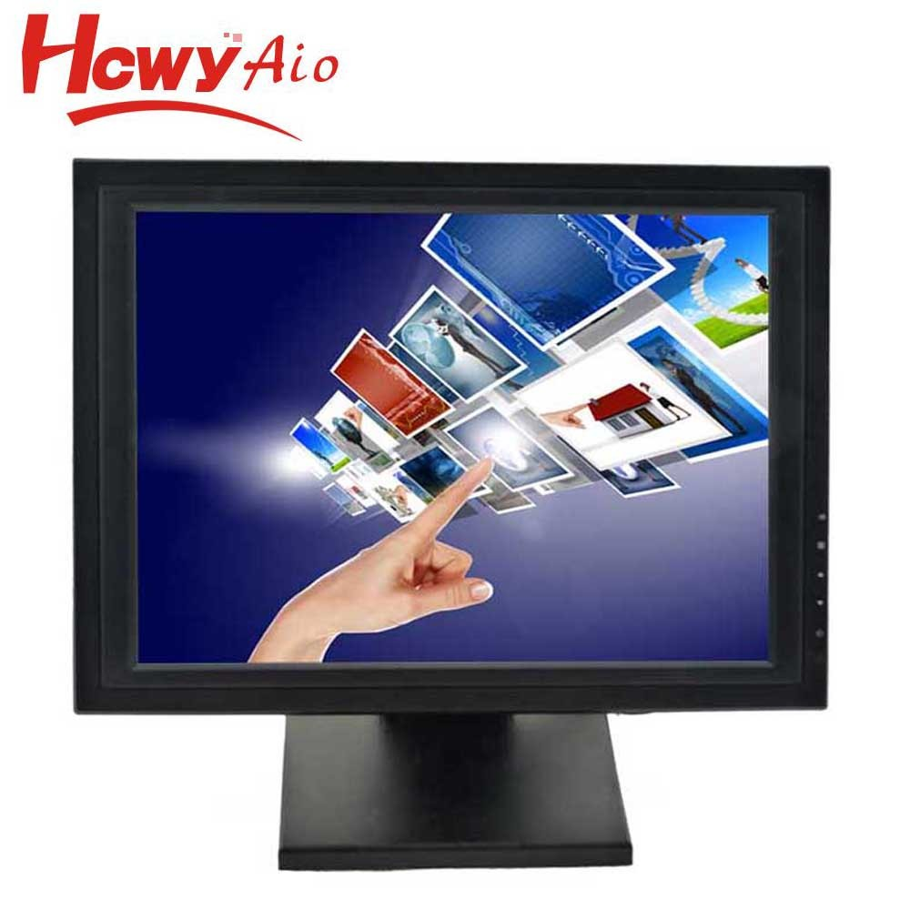 "15"" Lcd TFT Flat Screen 5 Wire Resistive Touch Screen Monitor For POS"