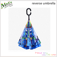 Factory wholesale 23inch C handle auto open reverse umbrella double layer beautiful colorful inverted umbrella