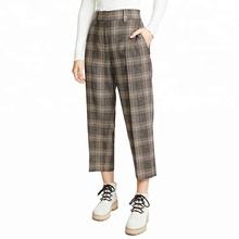 Tweed <span class=keywords><strong>Plaid</strong></span> Allentato Pantalone Dritto per la Donna