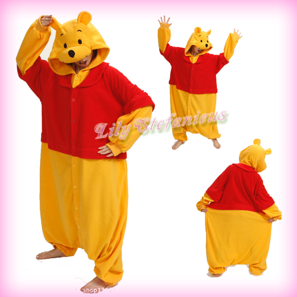 10fe1d8430 Get Quotations · Hot Cartoon Red Yellow Bear Costume Animal Cosplay Adult  Unisex Anime Halloween Onesies Sleepwear Pajamas Free