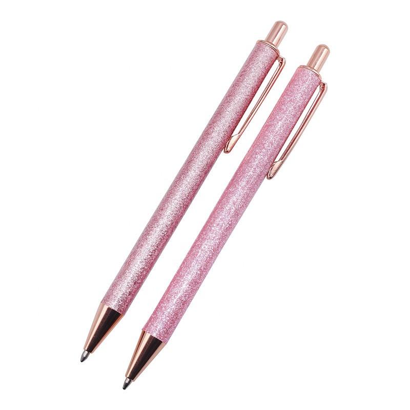 Ballpoint Pens Metal Retractable Pen Black Ink Medium Point 1mm, Glitter Rose Gold Click Ball Pens Gifts for Women School