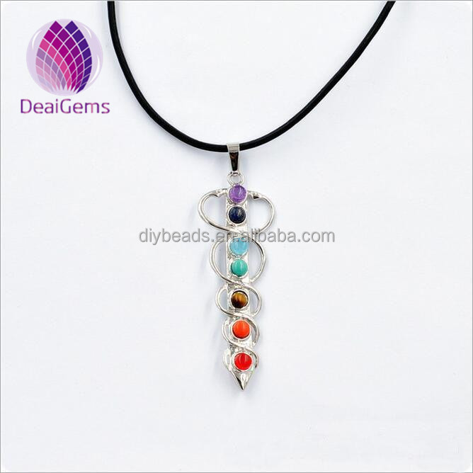 Natural gemstone alloy pendant, seven chakra stone Evil sword shaped pendant colorful
