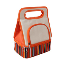 OEM durable recycled 600D polyester 2 layer picnic cooler bag/custom insulated lunch warmer handbag