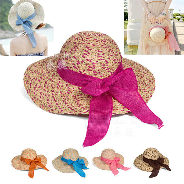 New 2015 women summer caps Mix Colors big bowknot sun floppy straw hats beach cap formal wide brim hat,ty4305