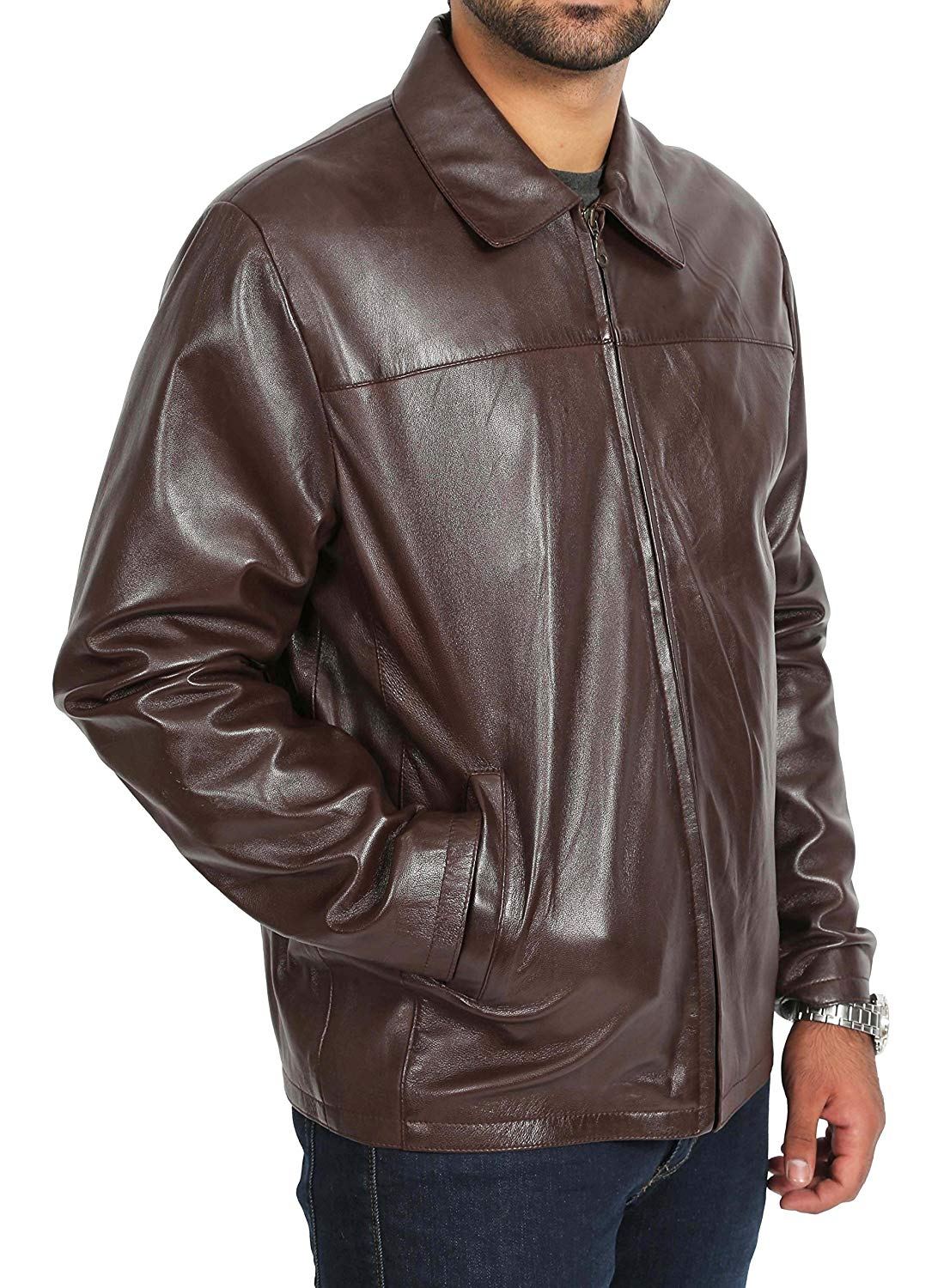 A1 FASHION GOODS Mens Leather Jacket Brown Zip Up Box Classic Most Popular Easy Fit Coat - Tony