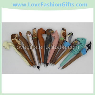 Children's Pencils Wooden Hand Carved Animal Ball Pen