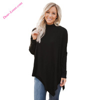 Elegant Design Black Soft Faux Poncho Turtleneck Sweater
