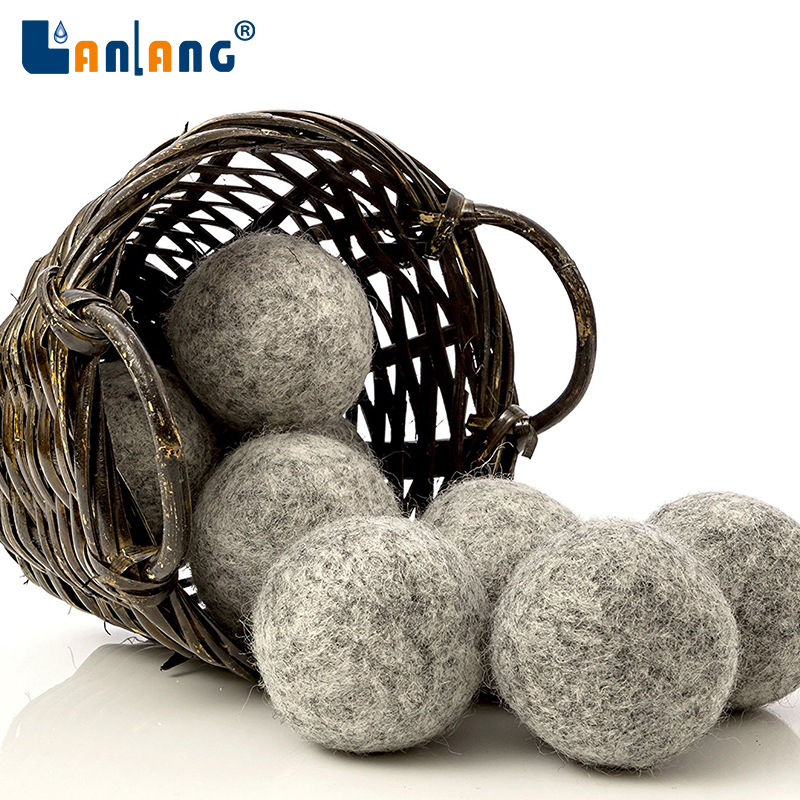 home use quick dry anti-static gray customized 7cm wool dryer ball