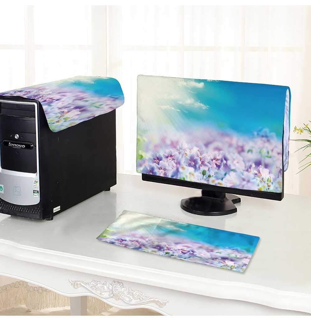 "PRUNUS Desktop Computer Cover 3 Pieces Early Summer Flowering Geranium Scratch Resistance /30"""