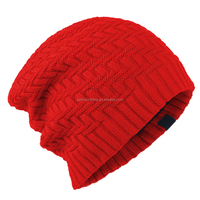 Cheap plain Acrylic wool winter men's knitted fabric hat cap , Custom women's different types of knit hats