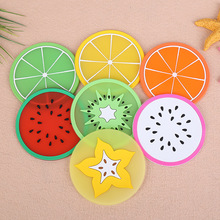 Creative anti-skid insulation cup coasters, jelly color fruit shape coasters silicone cup mats
