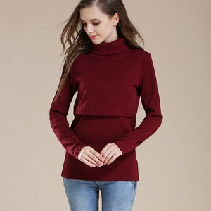 636db119a5c4e Winter Thermal Sweater Maternity Long Sleeve Nursing Clothes Turtle Neck Breastfeeding  Tops