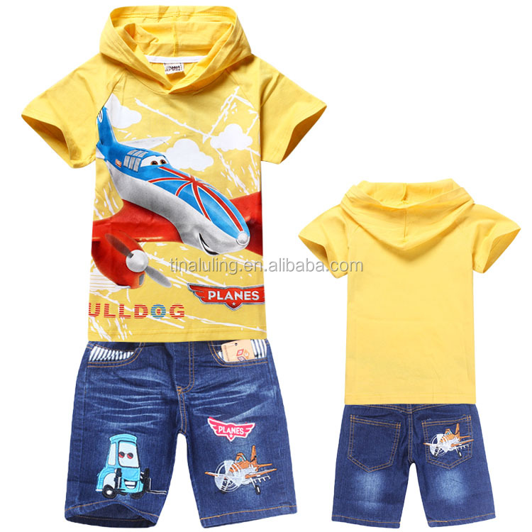 Fashion kids Aircraft Story clothing set,summer cartoon t-shirt jeans suit,yellow clothes sets jackets pants for children