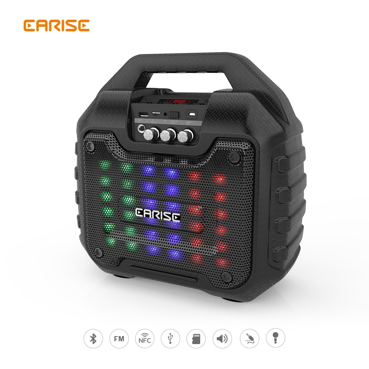 """EARISE B16 Portable Audio PA System   Rechargeable Bluetooth 5.25"""" Speaker   Karaoke Machine  Wireless Microphone   AUX/TF/USB/NFC Support   FM Radio   LED Light"""