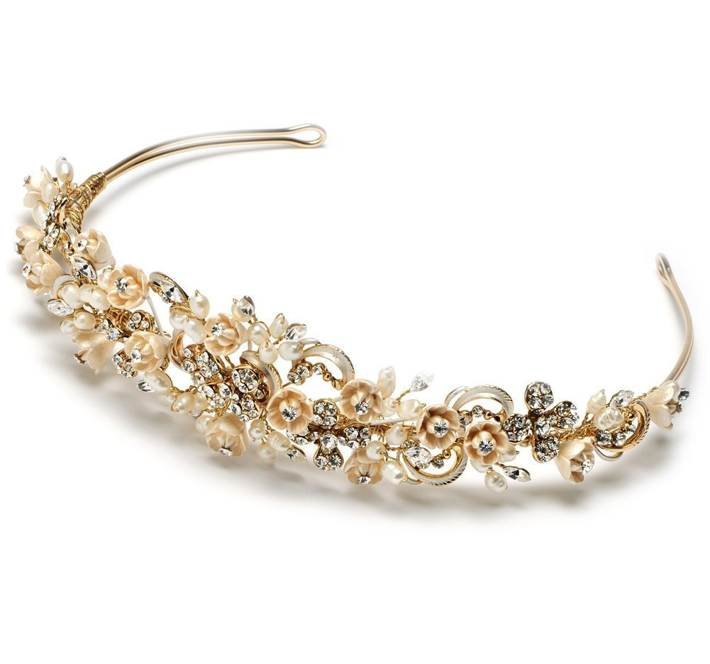 Elegance Collection - Floral Rhinestone Wedding Bridal Headband Tiara (gold rum champagne)