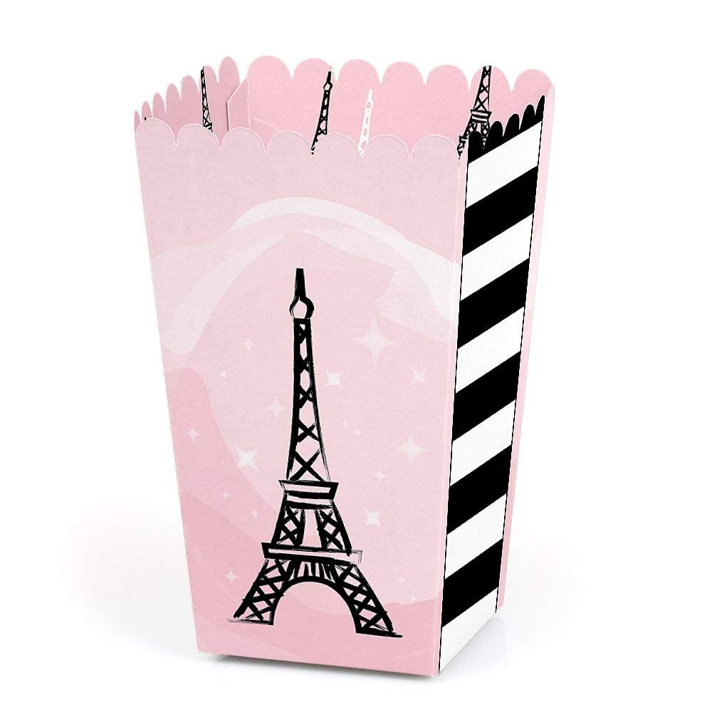 Big Dot of Happiness Paris, Ooh La La - Paris Themed Baby Shower or Birthday Party Favor Popcorn Treat Boxes - Set of 12