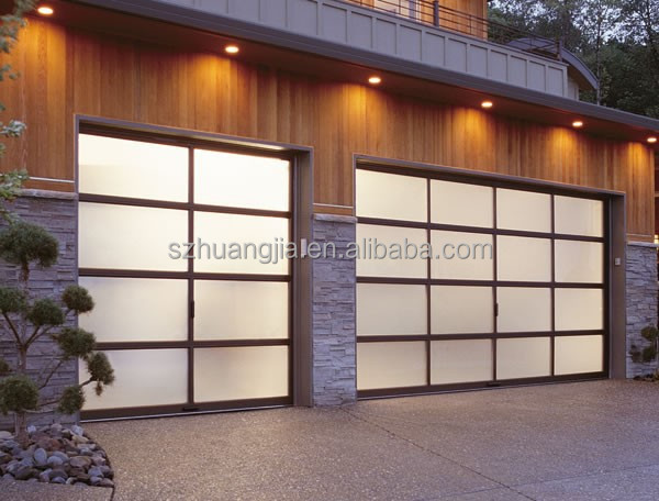 MODERN CONTEMPORARY FULL VIEW FROSTED GLASS GARAGE DOORS 16x7