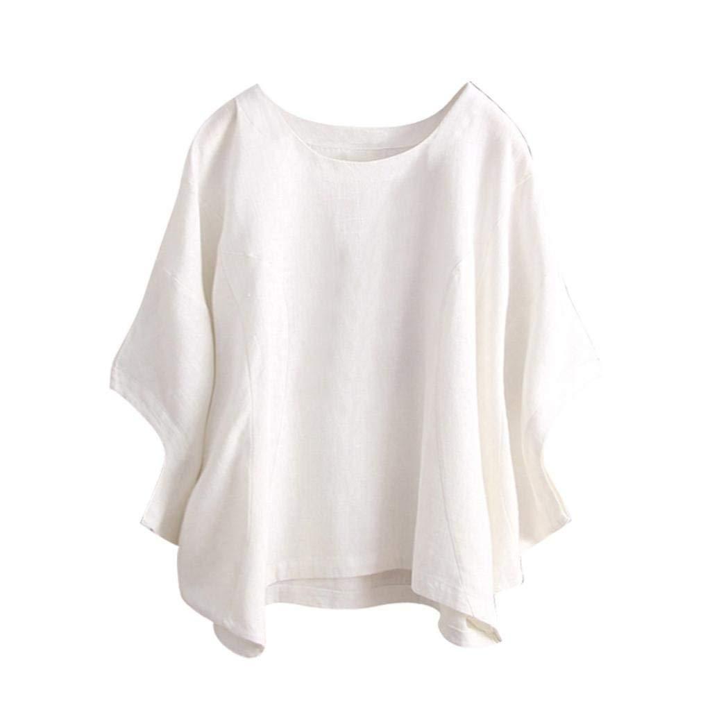 Clearance! Kshion Women Fashion Vintage Irregular Half Sleeve O Neck Solid Color Blouse T-Shirt (White, XL)