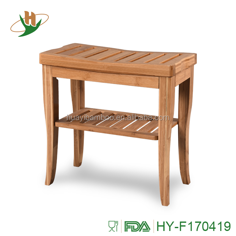 100% Deluxe Bamboo Shower Bench Bathroom Stool With Contoured Seat ...