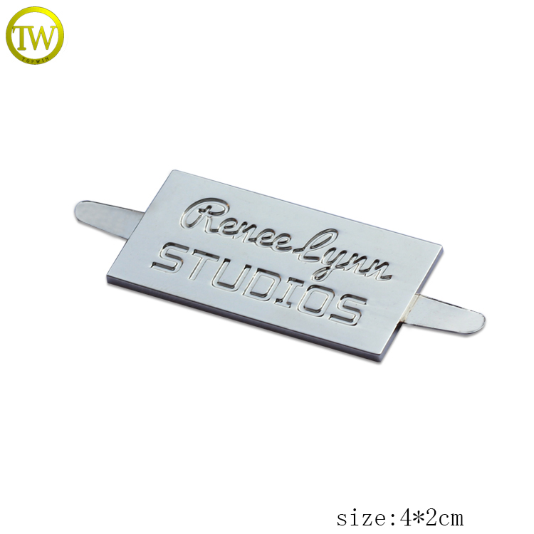 Custom Metal Logo Plate For wooden hanger Metal Engraved Logo Label